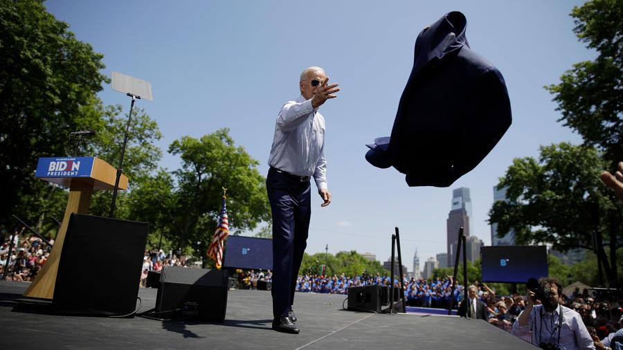 El exvicepresidente de EEUU Joe Biden en su rally hoy en Filadelfia