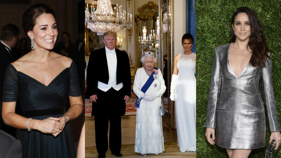 Imágenes de archivo de Kate Middleton (izquierda); Meghan Markle (derecha); y Donald Trump y su esposa, Melania, junto a la reina Isabel II.