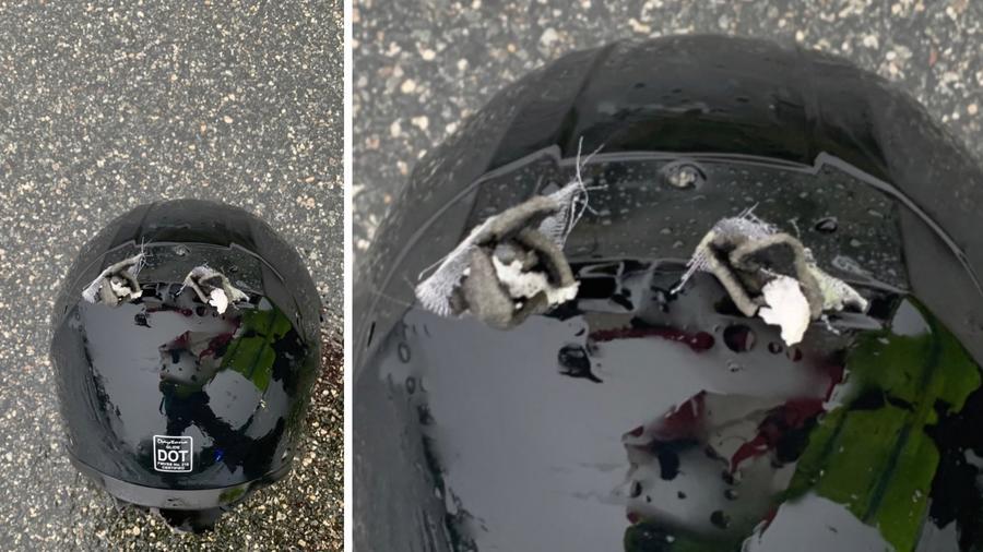 Casco del motociclista impactado por un rayo en Florida