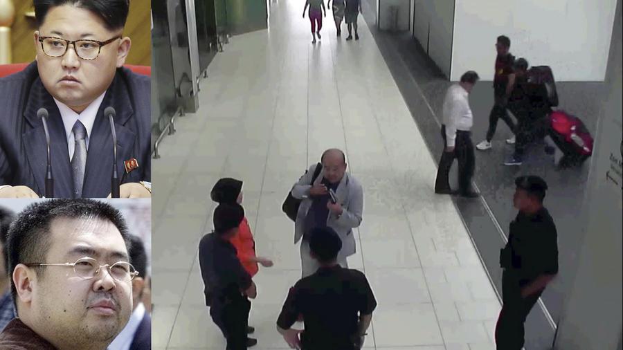 Kim Jong-nam reporta el ataque en el aeropuerto de Kuala Lumpur poco antes de su muerte. A la izquierda, una imagen de archivo de la víctima y de su hermano, Kim Jong-un (arriba).