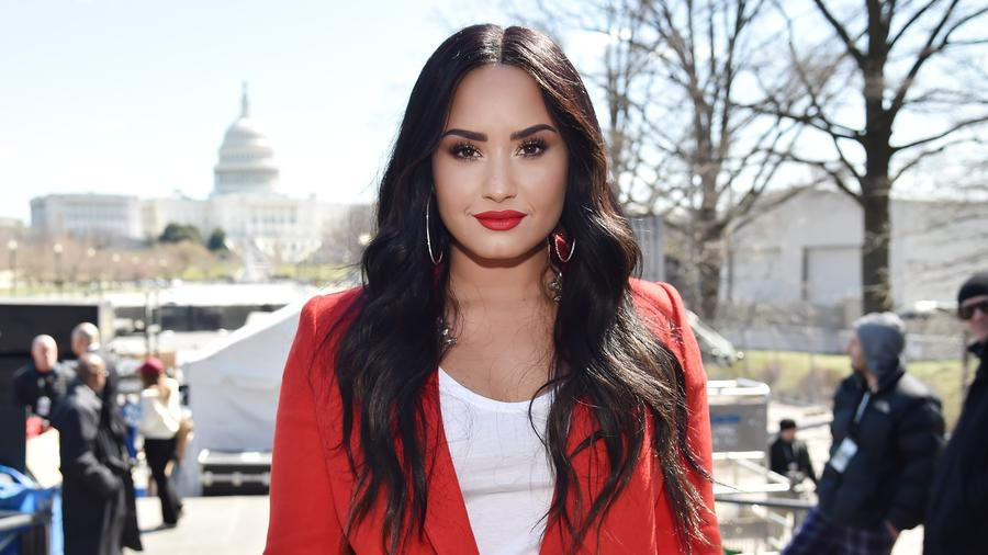 Demi Lovato attends March For Our Lives on March 24, 2018 in Washington, DC.