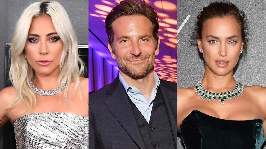 Lady Gaga llegando a los 61st Annual GRAMMY Awards al lado de unas fotos de Bradley Cooper e Irina Shayk