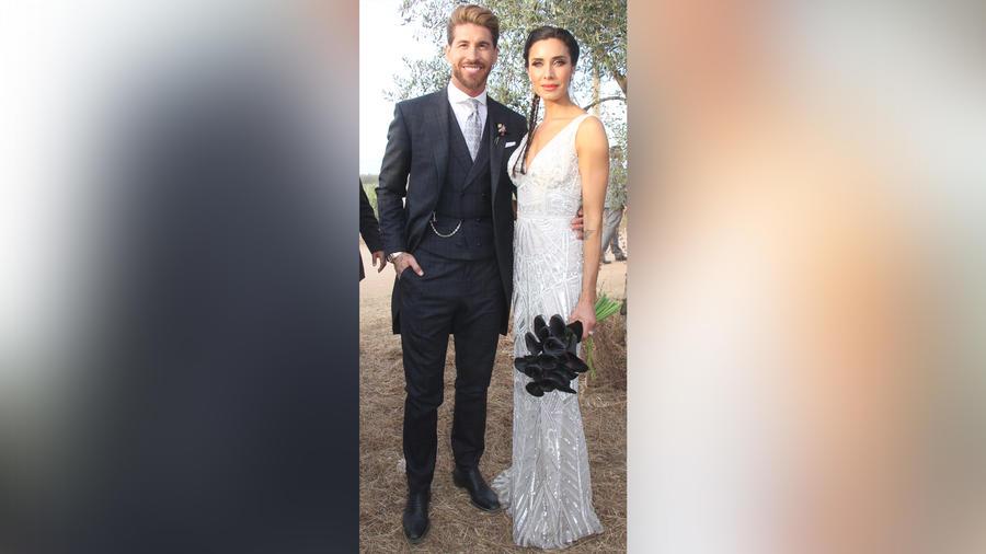 Sergio Ramos y Pilar Rubio en la catedral de Sevilla para su boda en junio de 2019