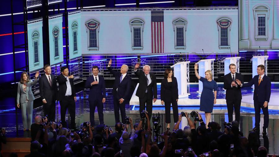 Segunda parte del primer debate presidencial del Partido Demócrata en Miami.