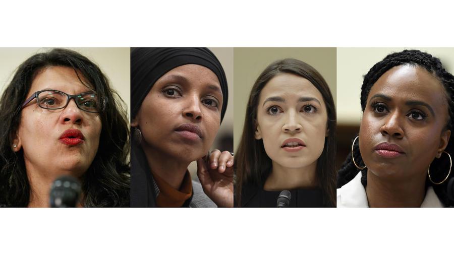 Imagen de las representantes Rashida Tlaib, Ilhan Omar, Alexandria Ocasio-Cortez y Ayanna Pressley.