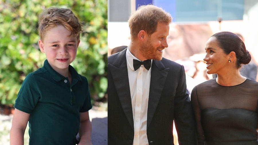 Príncipe George, Meghan Markle y el príncipe Harry