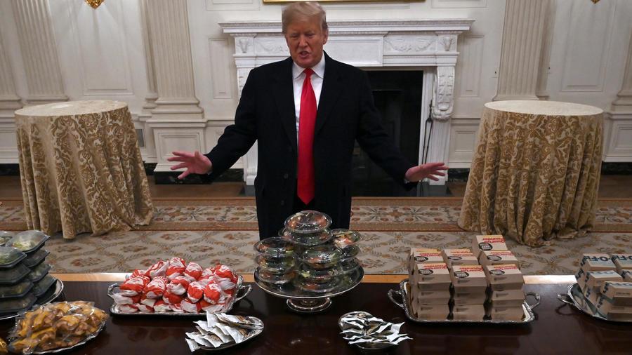 Trump, durante una recepción en la Casa Blanca en enero para deportistas.