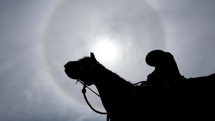 Imagen de archivo de un oficial de policía a caballo.