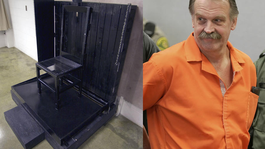 Imagen de archivo de la silla donde es ejecutado por fusilamiento el reo en Utah. A la derecha, Ronald Lafferty, durante un proceso judicial.