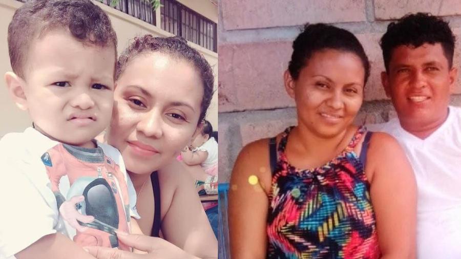 Idalia Herrera, junto a su hijo Iker, y junto a su marido, Elmer Córdova, en dos imágenes suministradas por su familia.