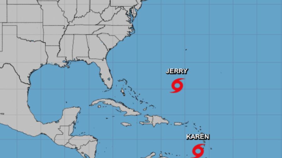Imagen de la tormenta tropical Karen. También se aprecia la ubicación de Jerry.