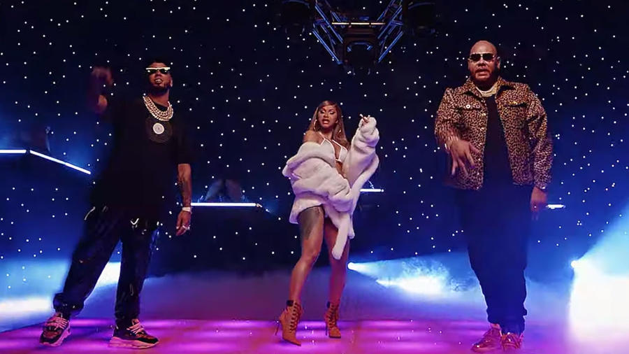 Anuel AA, Cardi B, and Fat Joe in music video
