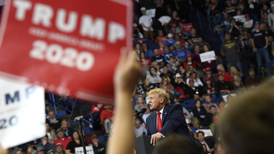 Trump, en un acto electoral este lunes en Lexington (Kentucky).
