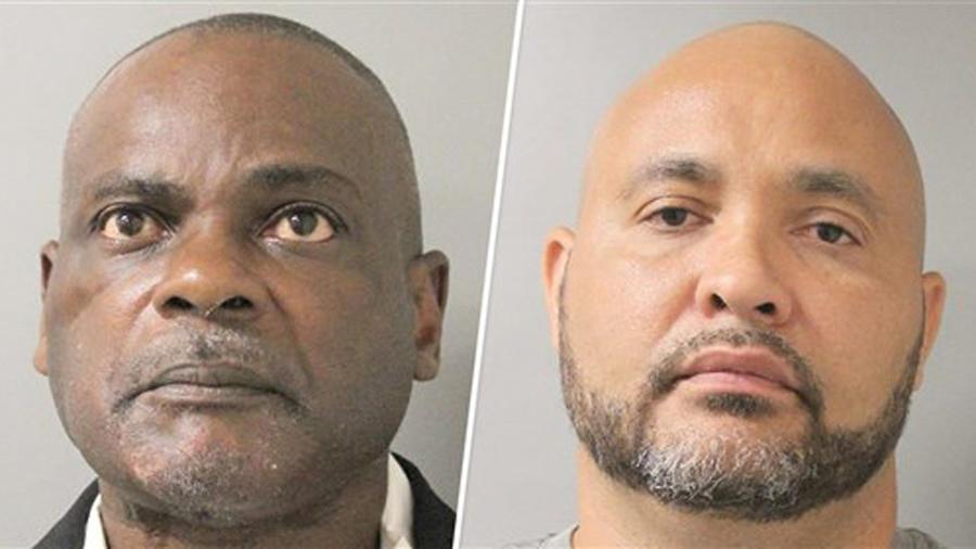 Los exagentes Gerald Goines y Steven Bryant en el retrato del registro policial.