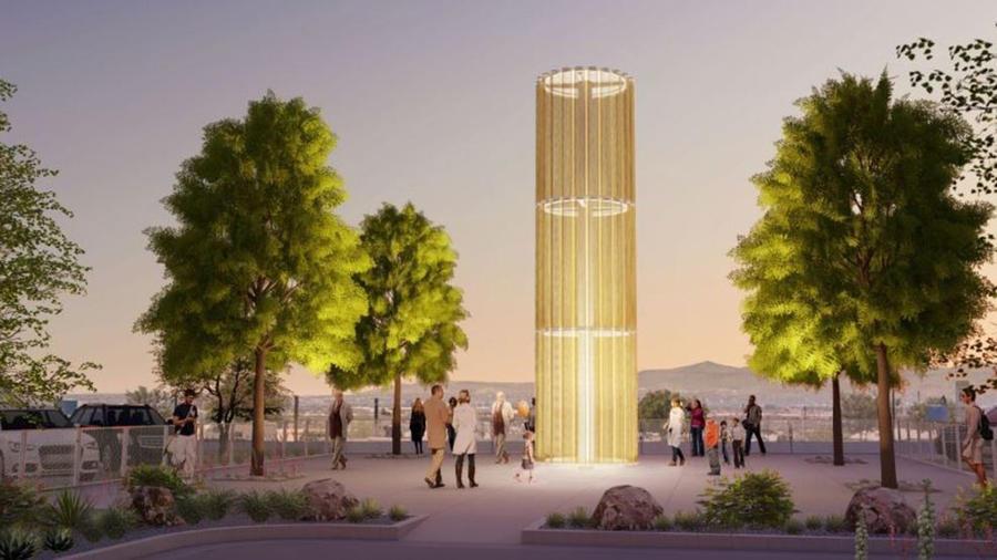 Monumento 'Grand Candela' honra a víctimas de tragedia en un Walmart de El Paso, Texas.