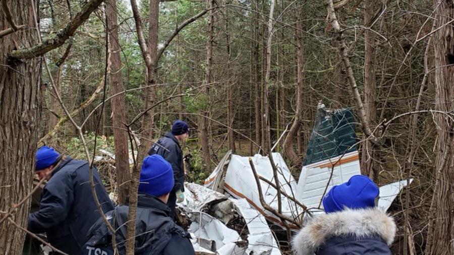 Restos de la avioneta estrellada este miércoles en Ontario, Canadá.