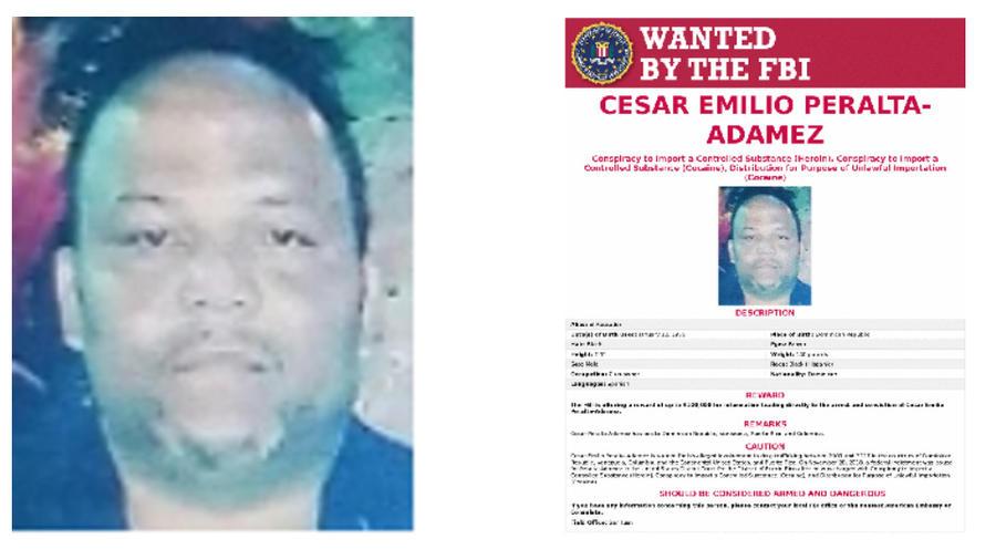 Captura de patalla del sitio web del FBI donde Peralta aparece como uno de los hombres más buscados.