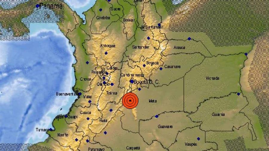 Mapa donde se registró sismo de 6.2 grados en Colombia.