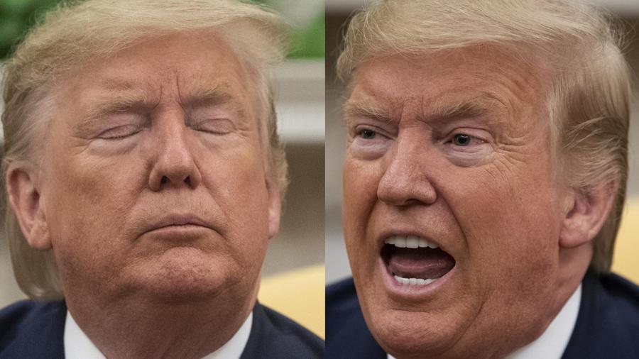 Dos momentos de la conferencia de prensa de Trump este martes en la Casa Blanca.