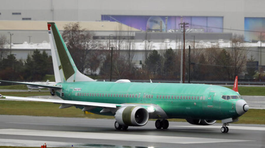 Un avión 737 Max en un test de vuelo.