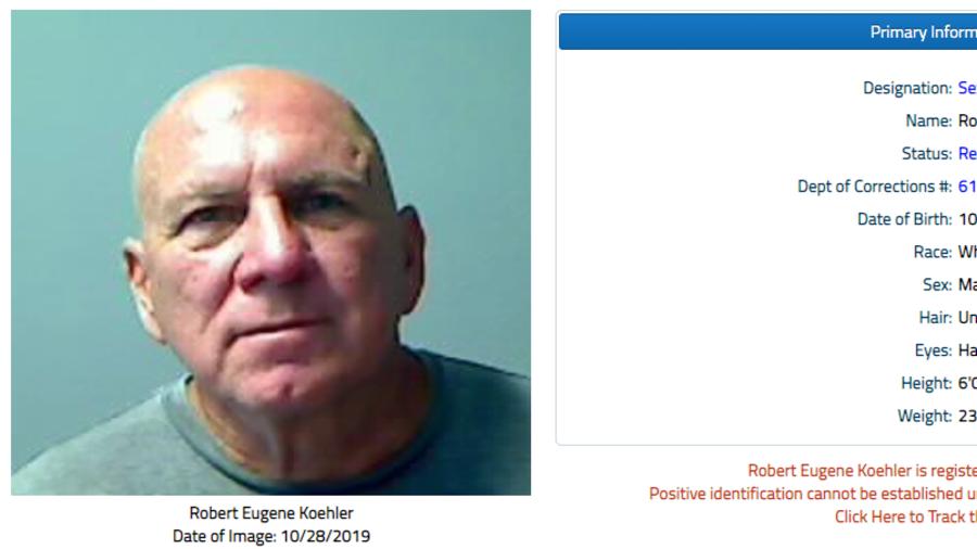 Ficha de registro como delincuente sexual de Robert Eugene Koehler.