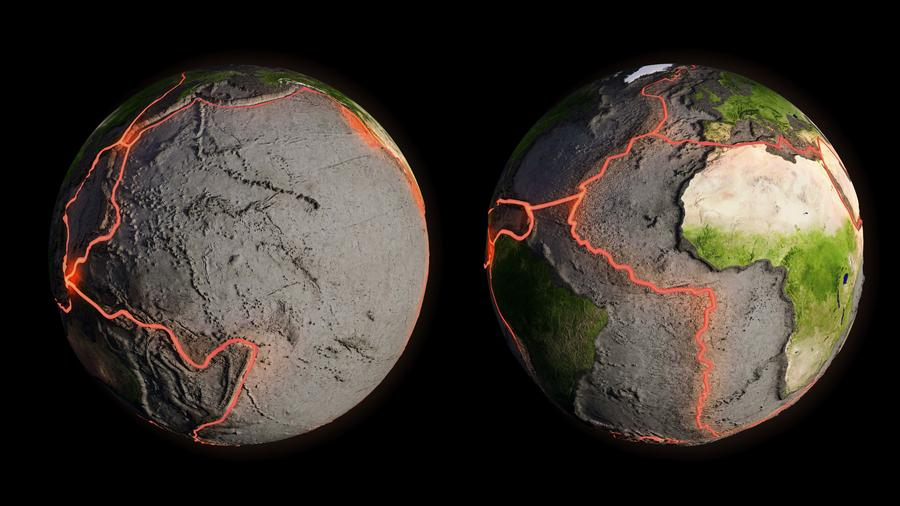 Tectonic plates and fault lines