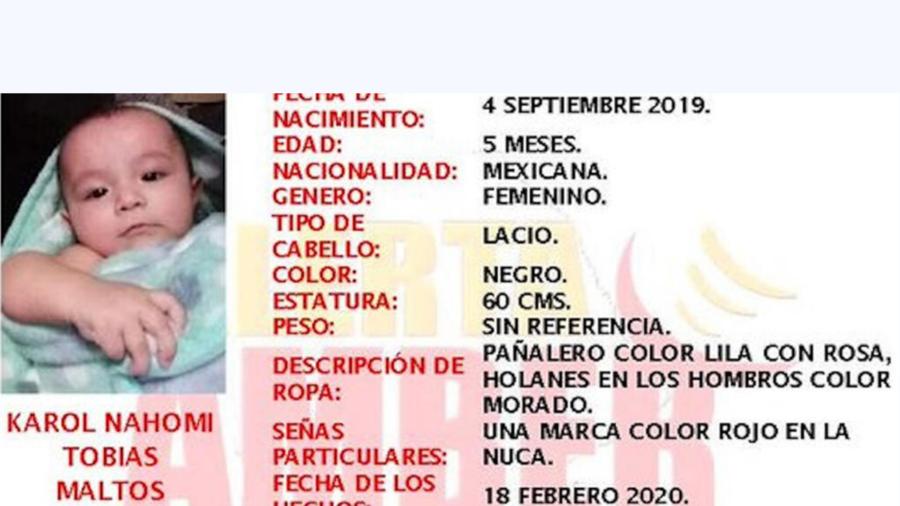 La bebé de 5 meses KArol Nahomi fue encontrada muerta el jueves. La Fiscalía de Coahuila confirmó que fallecío por una broncoaspiración y que la madre mintió sobre su secuestro.