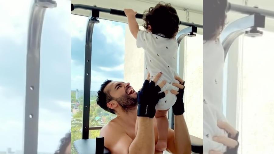 Fabián Ríos y su bebé haciendo ejercicio