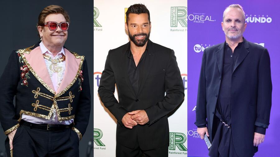 Elton John, Ricky Martin y Miguel Bosé