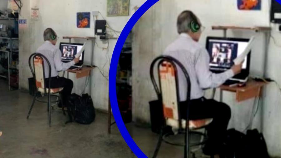 Profesor aquila una computadroa para dar sus clases