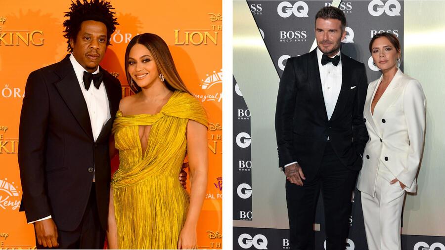 Beyoncé y Victoria Beckham con sus esposos