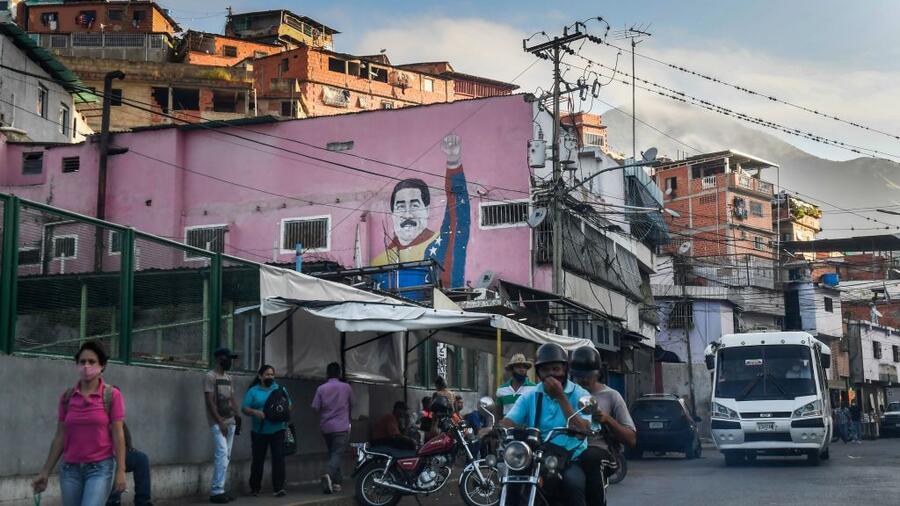 Un graffiti del presidenteNicolás Maduro en el barrio caraqueño dePetare el 16 de septiembre de 2020.