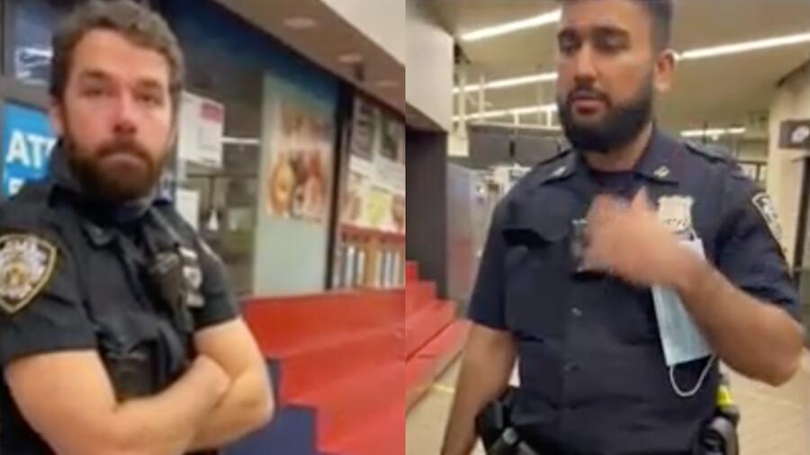 Policías sin cubrebocas