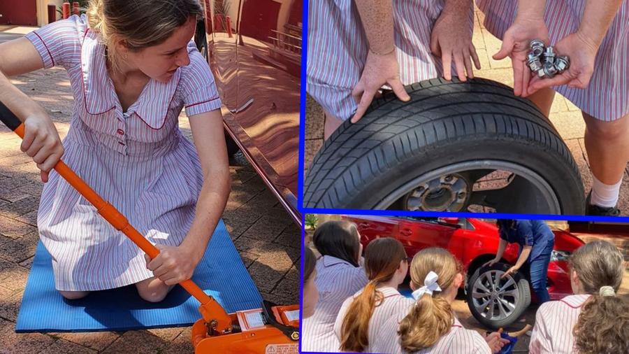 Nias aprenden a arreglar sus autos