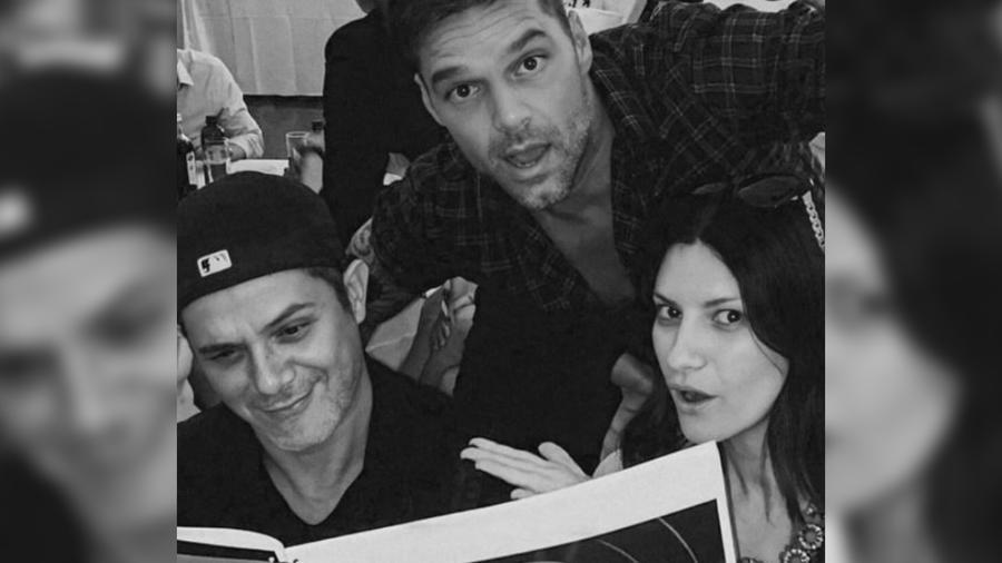 Alejandro Sanz con Ricky Martin y Laura Pausini