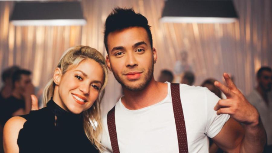 Shakira y Prince Royce durante el rodaje del video musical de Deja Vu.