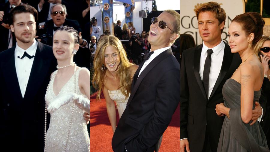 Collage de fotos con Brad Pitt, Juliette Lewis, Jennifer Aniston, Angelina Jolie.