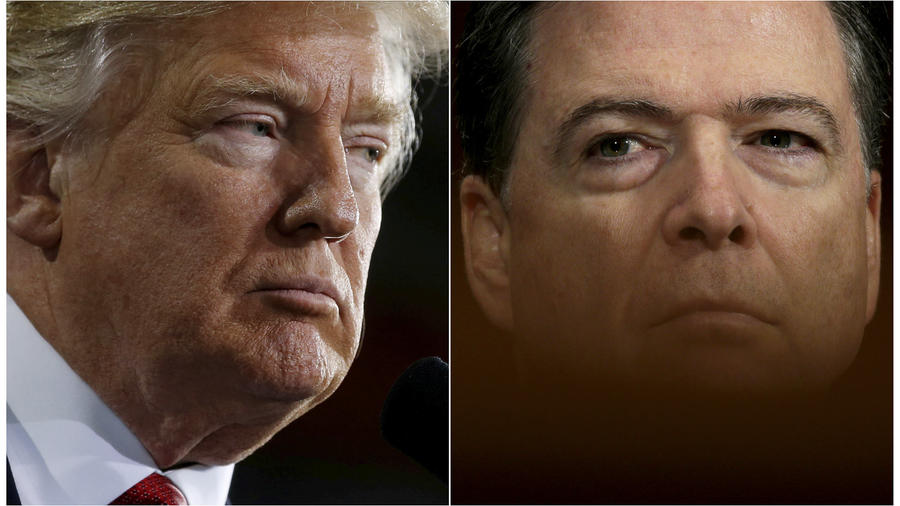 Combination of file photos of U.S. President Donald Trump and FBI Director James Comey