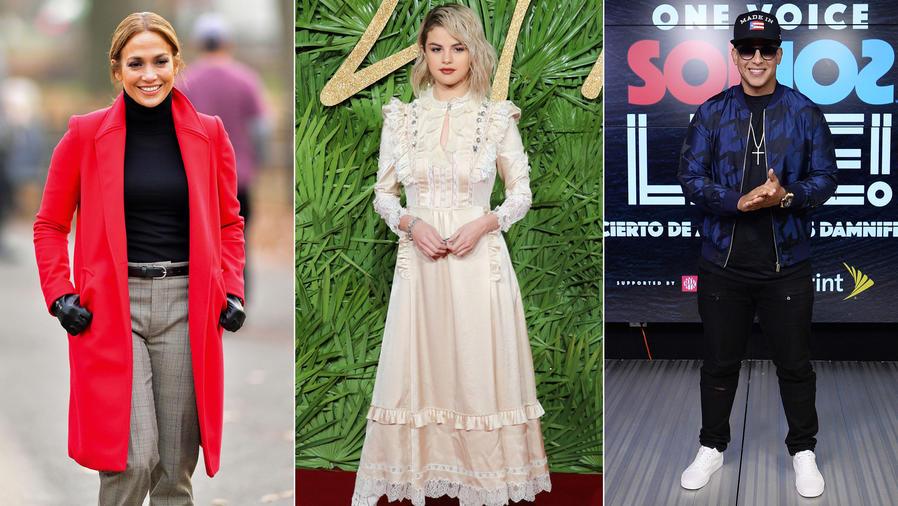 Collage Jennifer Lopez, Selena Gomez y Daddy Yankee