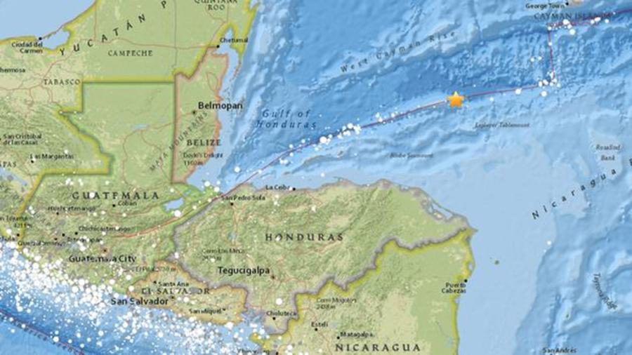 Mapa de la zona afectada por el terremoto de 7,6 grados en la escala de Richter que afectó al Caribe.