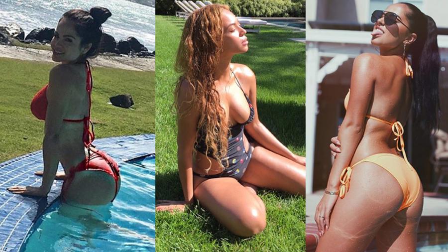 Natti Natasha, Beyoncé, Becky G collage bikinis