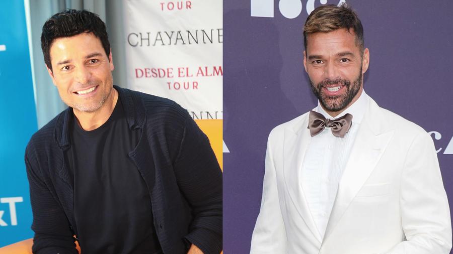 Chayanne en conferencia de prensa en Puerto Rico 2019 y Ricky Martin en el evento de MOCA en Los Ángeles, California.