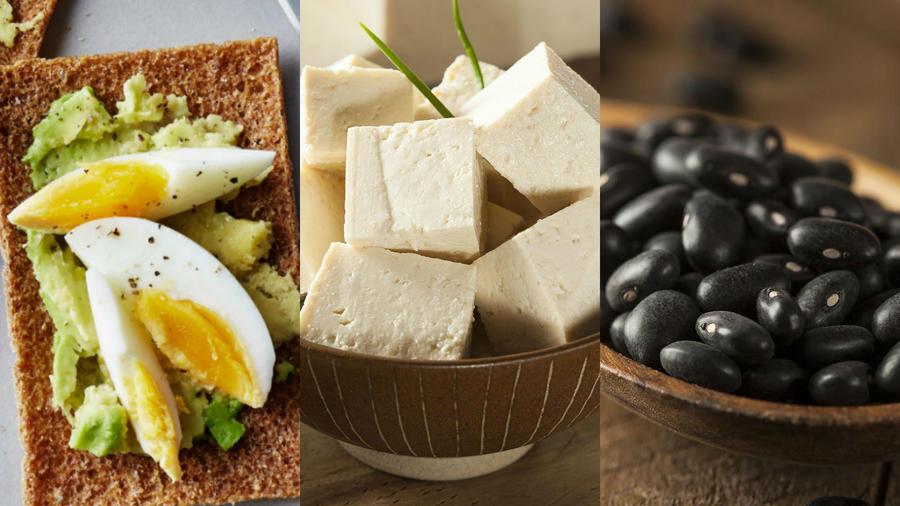 Huevo, tofu y frijoles