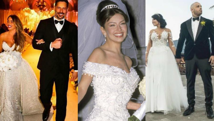 Sofía Vergara, Joe Manganiello, Thalíá, Nicky Jam y Angélica Cruz en sus bodas
