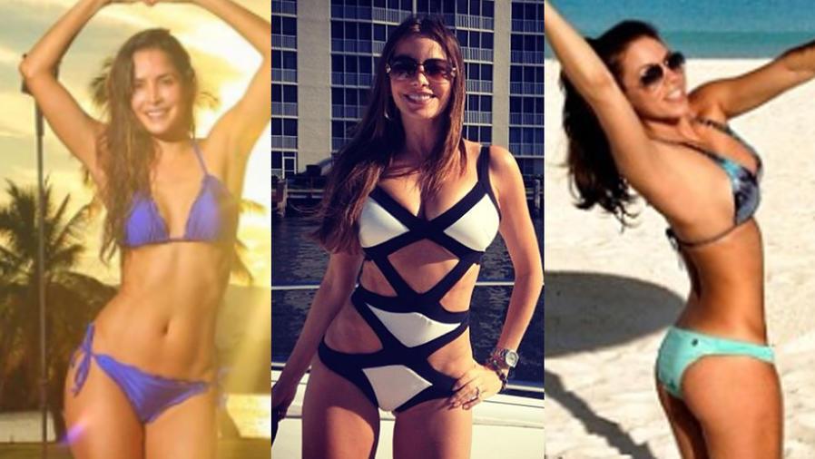 Collage de Carmen Villalobos, Sofía Vergara y Ximena Duque en bikini.