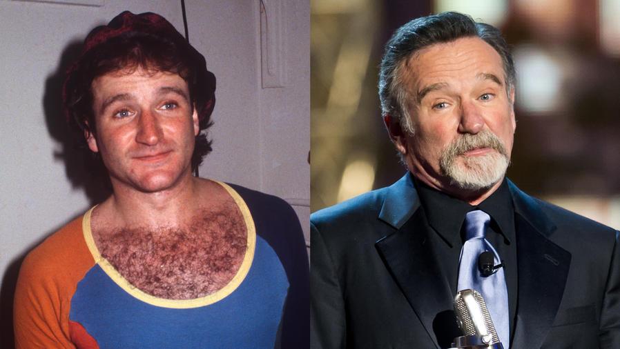Collage de Robin Williams antes y después.