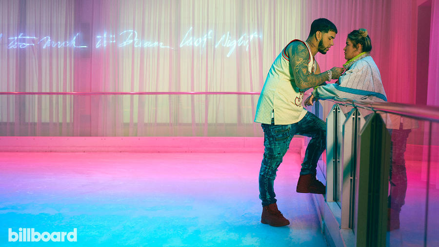 Anuel AA and Karol G in Billboard cover shoot