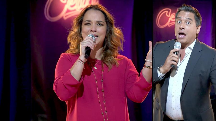 Adamari López y Daniel Sarcos cantando canciones de Celia Cruz