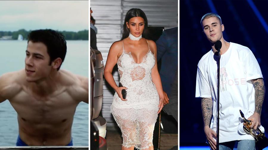 Nick Jonas, Kim Kardashian, Justin Bieber