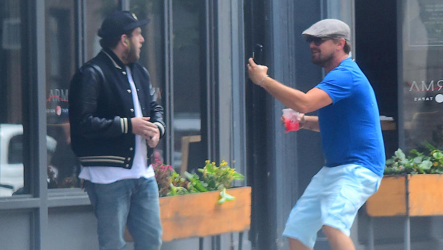 EXCLUSIVE Leonardo Dicaprio Spots Jonah Hill on the Street and Jump Scares the Hell Out of Him